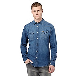 Wrangler - Big and tall blue logo denim shirt