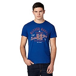 Wrangler - Big and tall blue 'Rugged goods' t-shirt