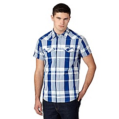 Wrangler - Blue western herringbone checked shirt