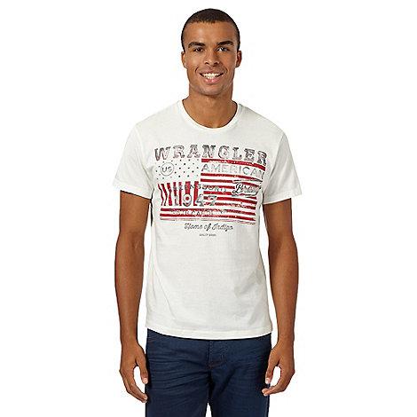 Wrangler big and tall white 39 us flag 39 print t shirt for Big and tall printed t shirts
