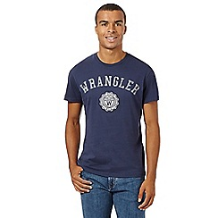Wrangler - Big and tall navy regular fit varsity logo t-shirt