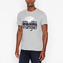 Wrangler - Big and tall grey flag print crew neck t-shirt