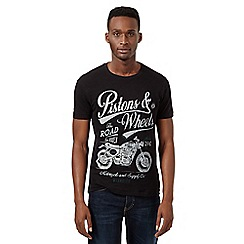 Wrangler - Big and tall black 'Pistons and Wheels' t-shirt