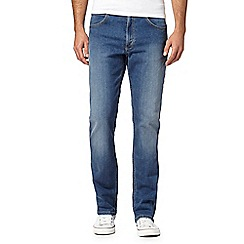 Lee - Blue stretch straight leg mid wash jeans
