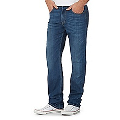 Lee - Big and tall blue mid wash straight fit jeans