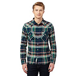 Lee - Green twill long sleeved checked shirt