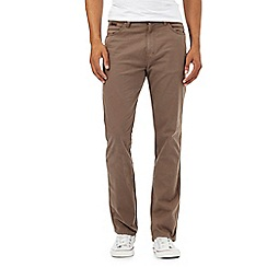 Wrangler - Brown textured line trousers