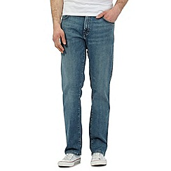 Wrangler - Big and tall blue vintage wash rain ready 'Texas' straight fit jeans
