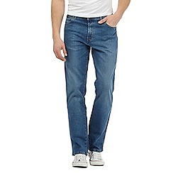 Wrangler - Big and tall blue straight leg stretch jeans