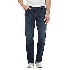 Wrangler - Big and tall dark blue straight leg stretch jeans