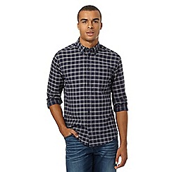 Wrangler - Navy checked elbow patch shirt