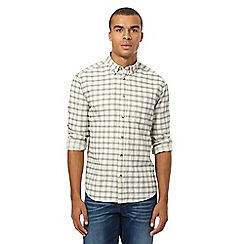 Wrangler - Big and tall off-white checked elbow patch shirt