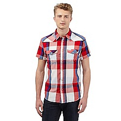 Wrangler - Big and tall red checked print short sleeved shirt