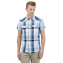 Wrangler - Big and tall blue checked print short sleeved shirt