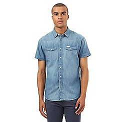 Wrangler - Big and tall blue denim shirt