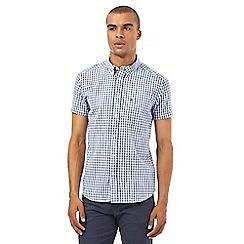Wrangler - Big and tall navy small checked shirt