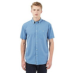 Wrangler - Big and tall blue checked print short sleeved shirt