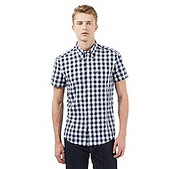 Wrangler - Big and tall navy checked print short sleeved shirt