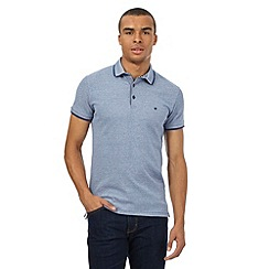 Wrangler - Big and tall blue textured logo polo shirt