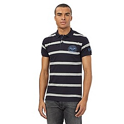 Wrangler - Navy striped logo polo shirt