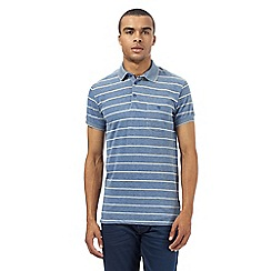 Wrangler - Big and tall blue pique striped polo shirt