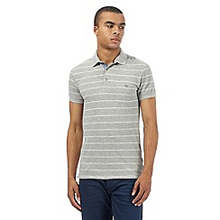 Wrangler - Big and tall grey pique striped polo shirt