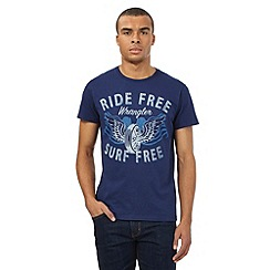 Wrangler - Big and tall navy 'Ride Free' print t-shirt
