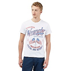 Wrangler - White double flag print t-shirt