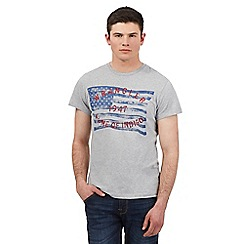 Wrangler - Big and tall grey faded flag print t-shirt