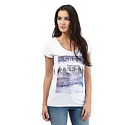 Wrangler - White 'Surf, sea and sand' print t-shirt
