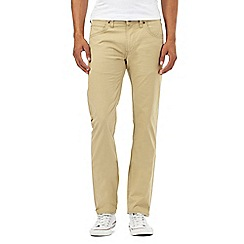 Lee - Beige twill slim fit stretch trousers