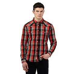 Lee - Red checked print long sleeved slim fit shirt