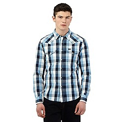 Lee - Blue checked print western slim fit shirt