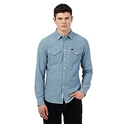 Lee - Blue denim western slim fit shirt