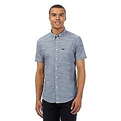 Lee - Navy short-sleeved regular fit textured shirt