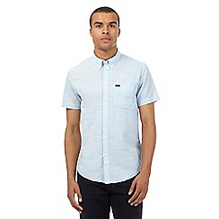 Lee - Blue short-sleeved regular fit textured shirt