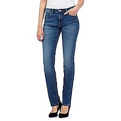 Wrangler - Drew mid blue wash straight leg slim mid waist jeans