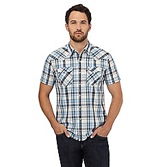 Levi's - Blue checked western short sleeve shirt
