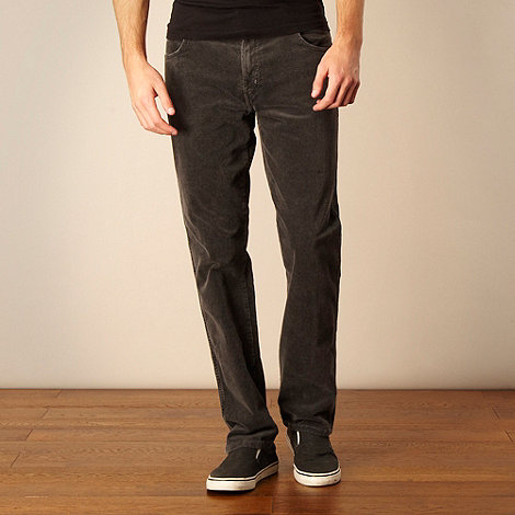 Wrangler - Big and tall grey straight leg corduroy trousers