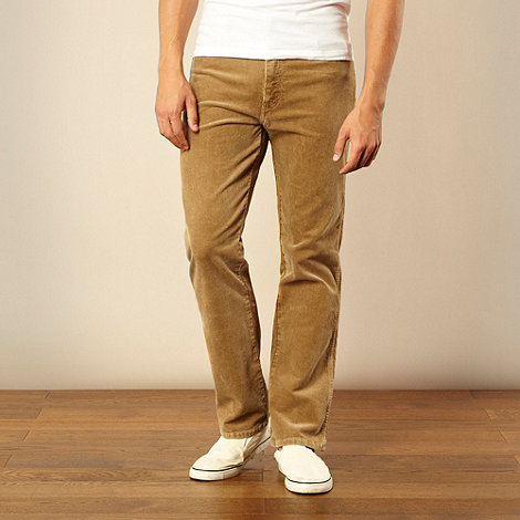 Wrangler - Beige cord straight leg trousers
