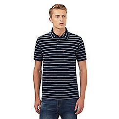 Levi's - Navy textured striped print polo shirt