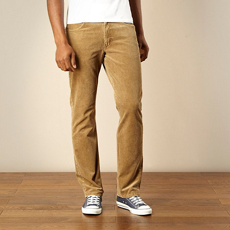Lee - Brooklyn beige straight leg corduroy trousers