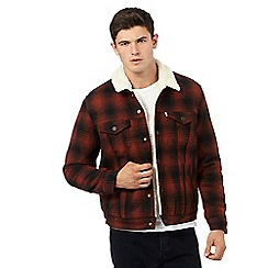Levi's - Red faded check sherpa jacket