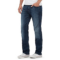 Wrangler - Arizona  dark blue mid wash stretch straight jeans