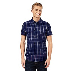 Wrangler - Big and tall navy checked print two pocket shirt