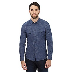 Wrangler - Navy blue textured button down shirt