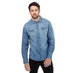 Wrangler - Indigo denim western shirt