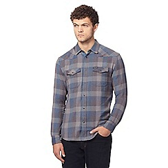 Wrangler - Grey herringbone checked shirt