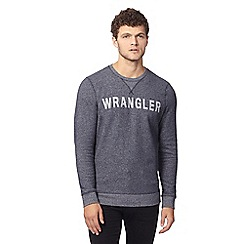 Wrangler - Big and tall grey crew neck 'wrangler' sweatshirt