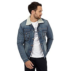 Wrangler - Big and tall blue mid wash sherpa collar denim jacket